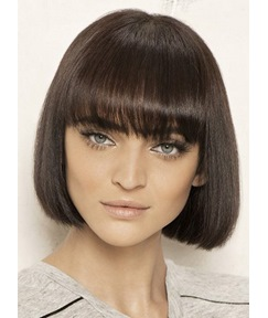 Fashion Bob Hairstyle All Bang Haircut 100% Human Hair Mono Top Wig 8 Inches