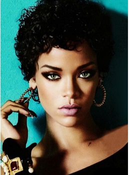 Custom Rihanna Short Curly Hairstyle 100% Human Hair Full Lace Wig 8 Inches