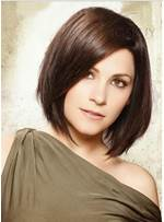Short Straight Side-Swept Bang Hairstyle 100% Human Hair Mono Top Wig 10 Inches