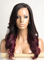 Ombre Hair Color Long Wavy 100% Human Hair Full Lace Wig 22 Inches #2/99j