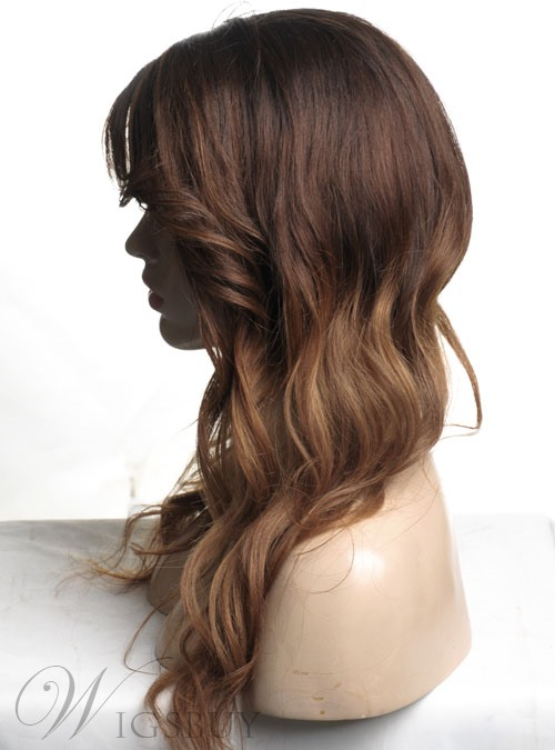 Ombre Hair Color Monofilament Top Long Wavy Human Hair Wigs 20 Inches #2/#6