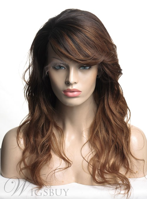 hair style wigs ombre hair color monofilament top wavy human hair 9224