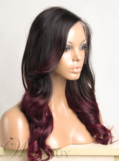 Ombre Hair Color Long Wavy 100 Human Hair Full Lace Wig