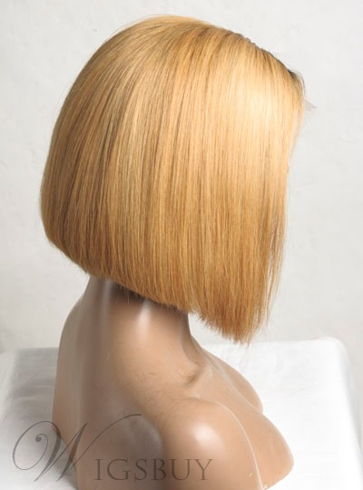 Beyonce Human Hair Medium Straight Full Lace Wigs 10 Inches