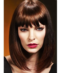 Lace Front Medium Straight Dark Auburn Synthetic Wigs 12 Inches #33