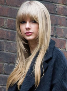 Taylor Swift Monofilament Top Long Layered Straight Golden Blonde Human Hair Wig 22 Inches #16