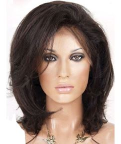 Natural Medium Straight Dark Brown 100% Human Hair Lace Front Wig 12 Inches