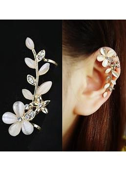 Delicate Little Flower with Crystal Ear Cuff for Women (Price For A Pair)