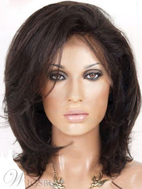 Natural Medium Straight Dark Brown 100% Human Hair Lace Front Wig 12 Inches 10969906