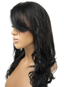 Keri Washington Hairstyle Long Wavy Black 100% Human Hair Full Lace Wig 18 Inches