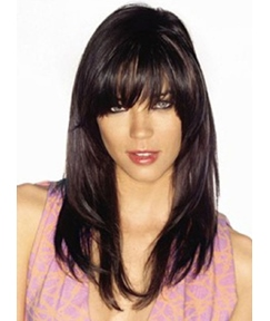 Monofilament Top Long Layered Straight 100% Human Hair Wig 18 Inches #99J