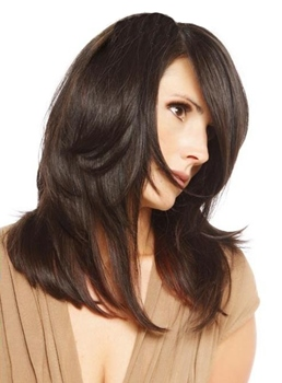 Monofilament Top Medium Layered Straight Medium Brown Human Hair Wig 16 Inches #4
