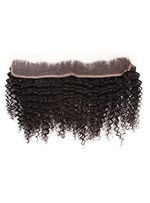 Natural Black Curly 100% Human Hair 13*2 Inches Lace Frontal Closure