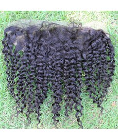 Natural Black Tight Curly 100% Human Hair 13*4 Inches Lace Frontal Closure