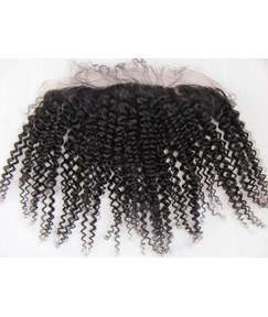 Natural Black Kinky Curly 100% Human Hair 13*2 Inches Lace Frontal Closure