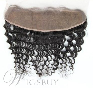 Natural Black Deep Wave 100% Human Hair 13*2 Inches Lace Frontal Closure