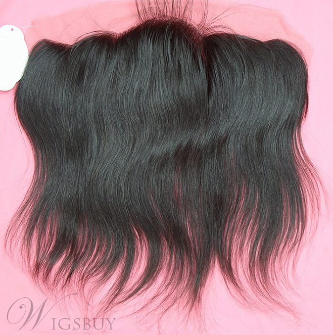 Natural Black Straight 100% Human Hair 13*4 Inches Lace Frontal Closure