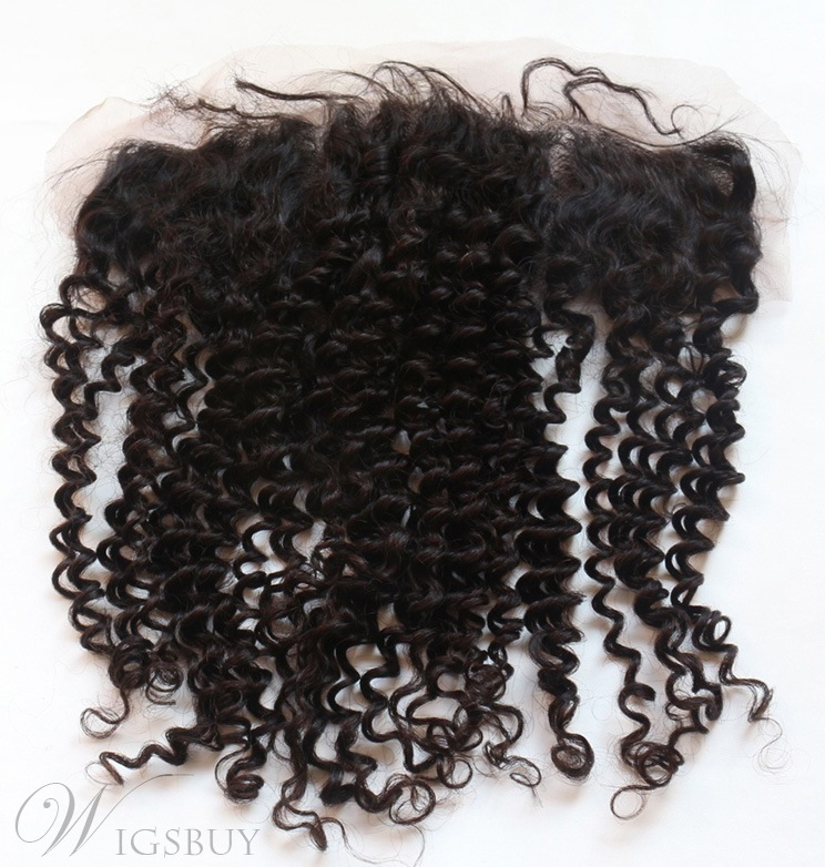 Natural Black Tight Curly 100% Human Hair 13*2 Inches Lace Frontal Closure