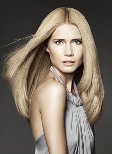 Human Hair 100% Hand-Tied Monofilament Top Full Front Wig 150% Hair Density Long Straight Hairstyle 20 Inches