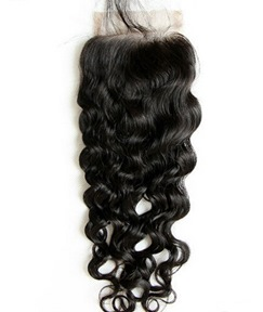 Natural Black Wave 100% Human Hair 4*4 Inches Lace Closure