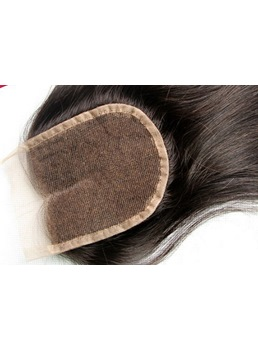 New Unprocessed Straight Human Hair Lace Closures 3.5*4