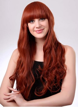 Long Wavy #350 Synthetic Hair Wig with Full Bang 28 Inches