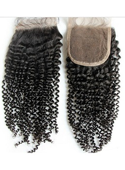New Curly Unprocessed Human Hair Lace Closures 4*4