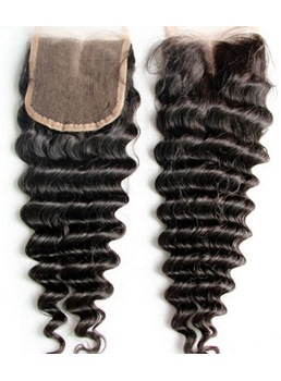 Deep Wave Unprocessed Human Hair Lace Closures 4*4