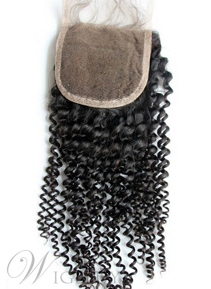 New Curly Unprocessed Human Hair Lace Closures 3.5*4