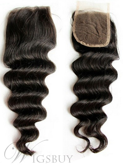 New Deep Wave Unprocessed Human Hair Lace Closures 4*4