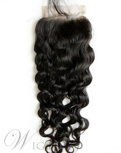 New Unprocessed Natural Wave Human Hair Lace Closures 3.5*4