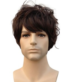 Short Wavy Dark Brown Synthetic Hair Men Wigs