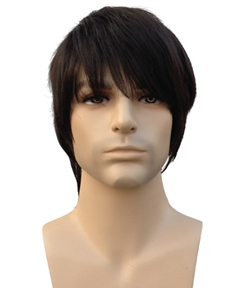 Cheap Short Straight Dark Brown Synthetic Hair Men's Wig