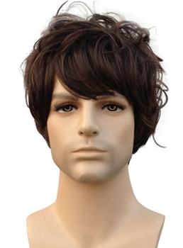 Fashion Short Wavy Dark Brown Synthetic Hair Wig