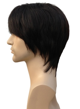 Short Straight Full Bang Synthetic Hair Men's Wigs