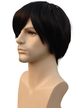 Short Straight Dark Brown 100% Human Hair Men's Wig