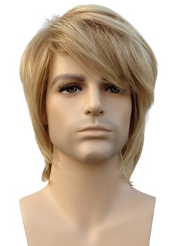 Short Straight Blonde Synthetic Hair Men's Wig