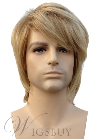 Short Straight Blonde Synthetic Hair Mens Wig