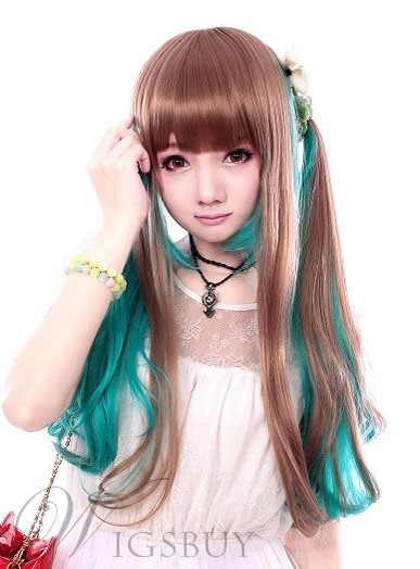 Cosplay Wig Inspired by Mixed Color Harajuku Style