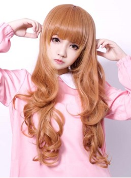 Synthetic Hair Cosplay Wig Long Pear Flower Hairstyle with Front Bang
