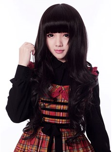 Synthetic Hair Cosplay Wig Long Curly Hairstyle Black