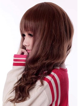 Synthetic Hair Cosplay Wig Long Wavy Hairstyle with Front Bang Dark Brown