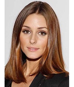 Charming Long Straight Brown Lace Front Human Hair Wig 14 Inches