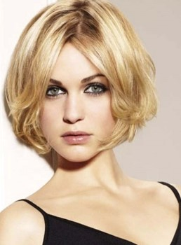 Youthful Short Loose Wave Blonde Full Lace Human Hair Wig