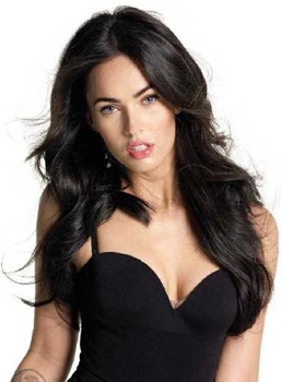 Sexy and Charming Celebrity Hairstyle Megan Fox Long Loose Wave Remy Hair Lace Front Black Wig 20 Inches
