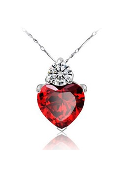Sweet Heart Shaped Red Garnet 925 Sterling Silver Necklace for Women
