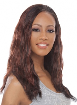Elegant Celebrity Hairstyle Long Natural Wave Mixed-colored Hair Remy Hair Lace Front Wig 18 Inches