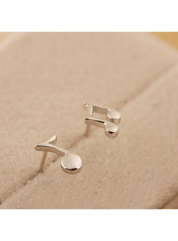 Cute Musical Note 925 Sterling Silver Ear Studs for Women