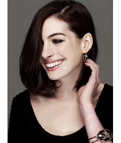 Anne Hathaway Bob Style Short Straight Human Hair Lace Front Wigs 10 Inches