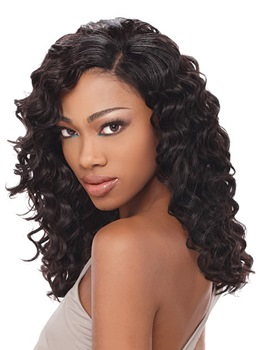 Charming Long Body Wave Black Hair 18 Inches 100% Human Hair Lace Front Wig